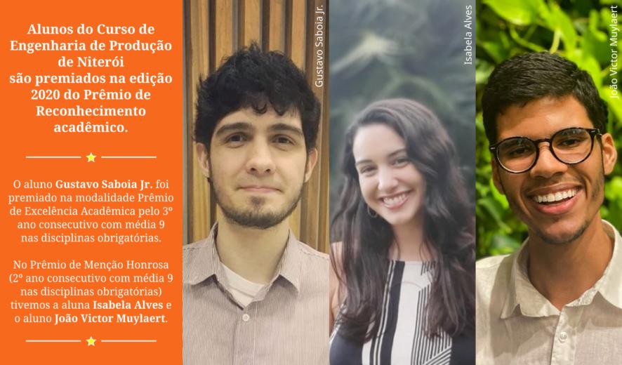 PARABÉNS AOS 3 ALUNOS RECONHECIDOS NO PRÊMIO DE RECONHECIMENTO ACADÊMICO UFF 2020!